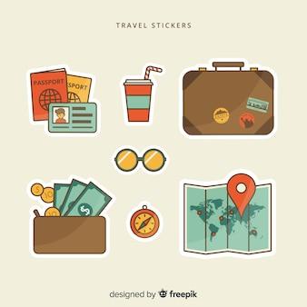 Flache reiseaufkleber-sammlung