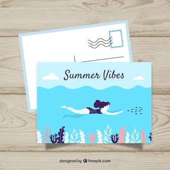 Flache reisepostkarte schablone mit sommerart