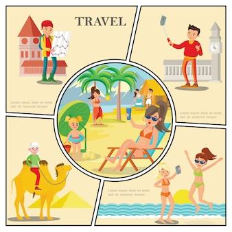 Flache reisezusammensetzung mit frauen entspannen auf strandmann, der kameltouristen nahe berühmten weltattraktionen reitet