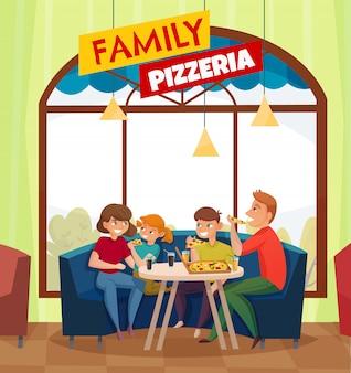 Flache restaurantkneipenbesucher färbten zusammensetzung mit großer roter familienpizzeria