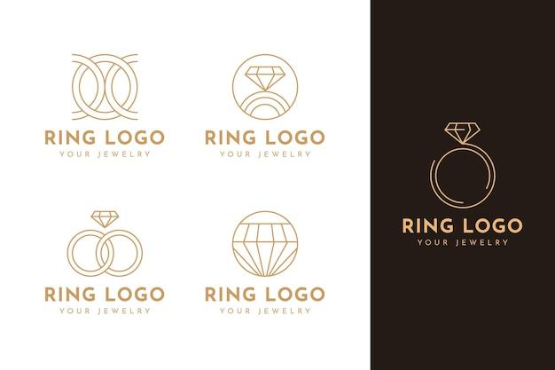 Flache ring-logo-schablonensammlung