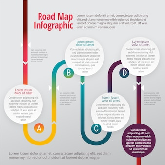 Flache roadmap-infografiken