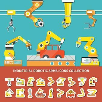 Flache roboterarm farbige zusammensetzung mit industriellen roboterwaffenikonen sammlungsbeschreibungsillustration