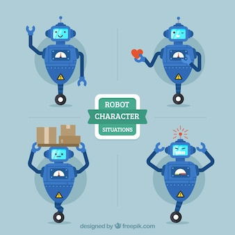 Flache robotersammlung mit verschiedenen posen