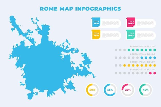 Flache rom-karte infografiken vorlage