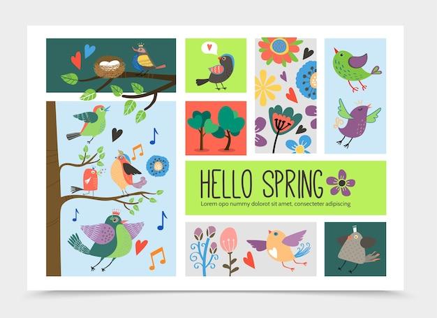 Flache romantische infografikschablone der frühlingszeit mit dem fliegen und sitzen auf schönen niedlichen vögeln der äste