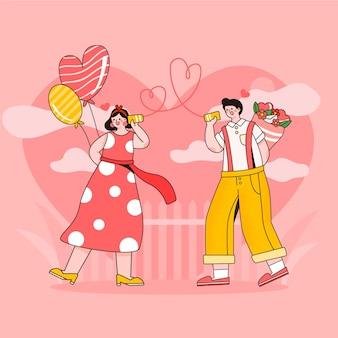 Flache romantische paarillustration mit luftballons und blumen
