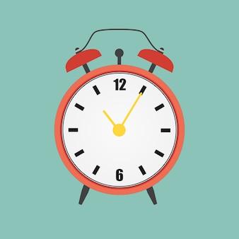 Flache rote uhr alarmuhr abbildung. eps