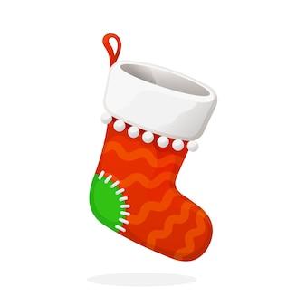 Flache rote weihnachtssocke für geschenke traditions-neujahrszusatz für geschenke vektorillustration