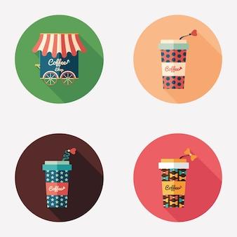 Flache runde ikonen des kaffeestube- und papierkaffeetassen.