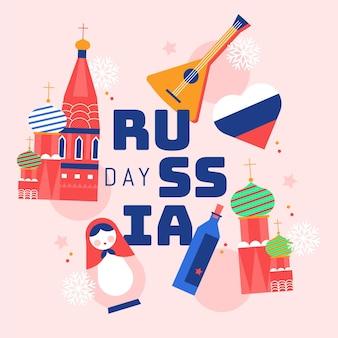 Flache russland-tagesillustration