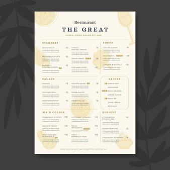 Flache rustikale restaurantkarte