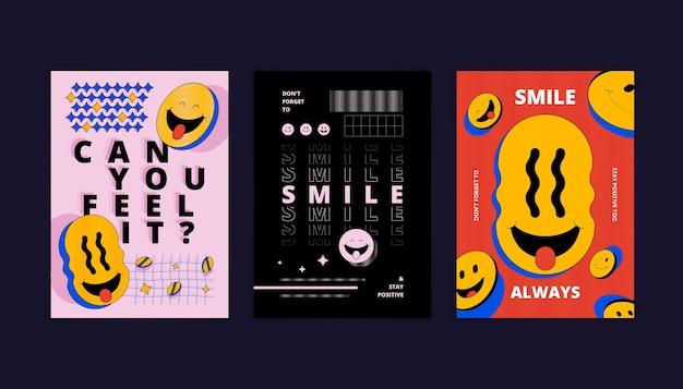 Flache säure-emoji-plakatschablone