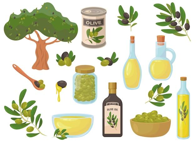 Flache sammlung der bunten olivensymbole