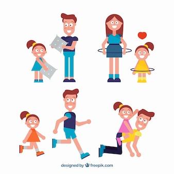 Flache sammlung der familie, die verschiedene tätigkeiten tut