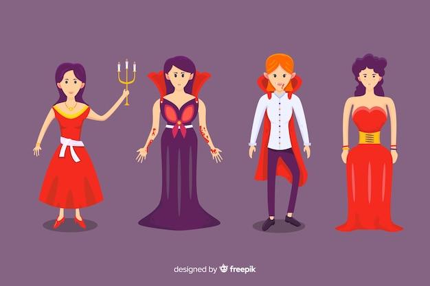 Flache sammlung des weiblichen vampircharakters