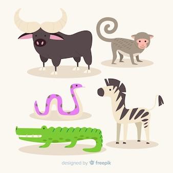 Flache sammlung exotischer tiere