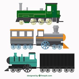 Flache sammlung von antiken lokomotiven