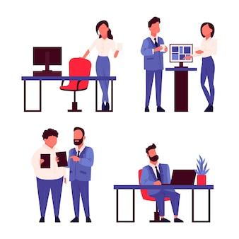 Flache sammlung von arbeitstagsszenen