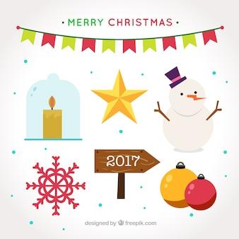 Flache sammlung von bunten weihnachten elemente