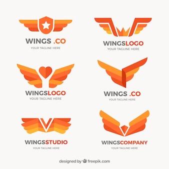 Flache sammlung von flügel logos in orangetönen