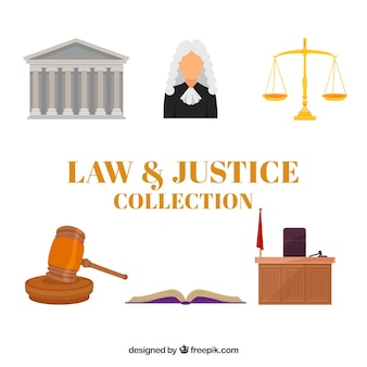 Flache sammlung von gesetzes- und gerechtigkeitselementen