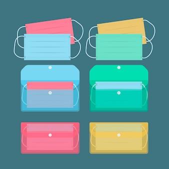 Flache sammlung von gesichtsmasken-aufbewahrungskoffern