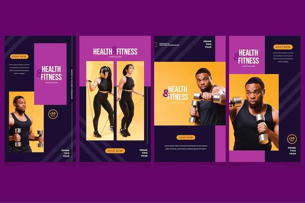Flache sammlung von gesundheits- und fitnessgeschichten mit foto