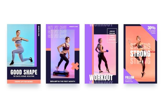 Flache sammlung von gesundheits- und fitnessgeschichten