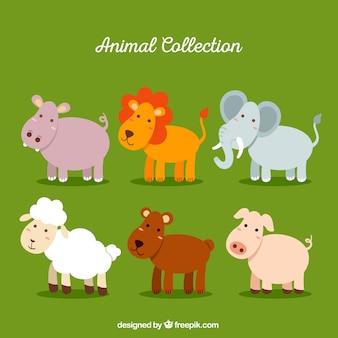 Flache sammlung von glücklichen tieren