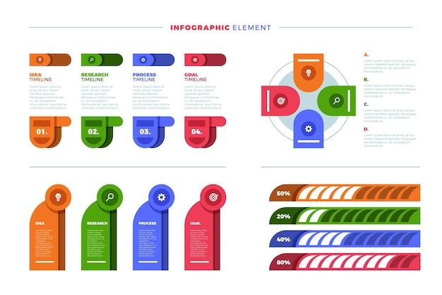 Flache sammlung von infografik-elementen