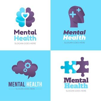Flache sammlung von logos für psychische gesundheit