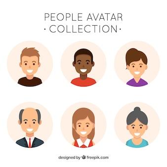 Flache sammlung von menschen avatare