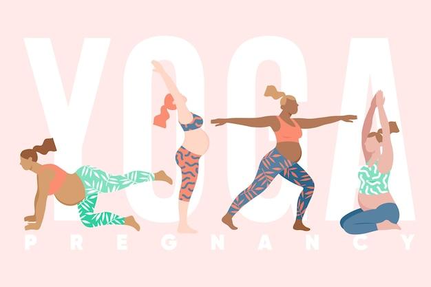 Flache sammlung von menschen, die yoga machen