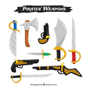 Flache sammlung von piratenwaffen