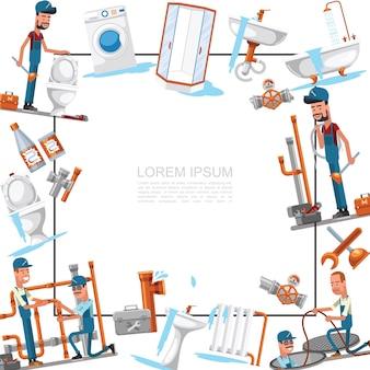 Flache sanitär-service-vorlage