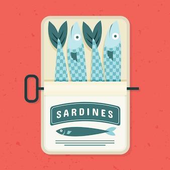 Flache sardinenfischillustration
