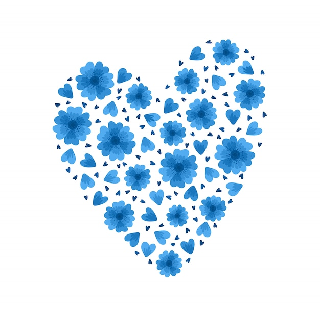 Flache schablone der blauen blumenherzen. wildblumenblüten und -blumenblätter auf weißem hintergrund. flache illustrationen der florenelemente blumen lokalisierte dekoration