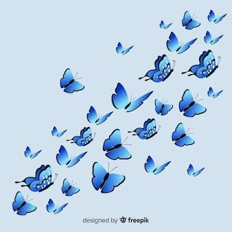 Flache schmetterlinge, die hintergrund fliegen