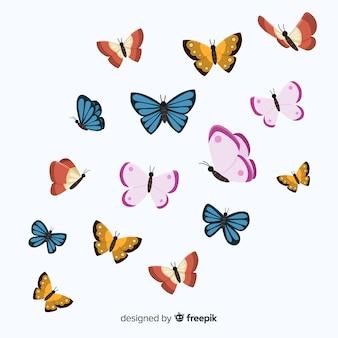 Flache schmetterlinge fliegen