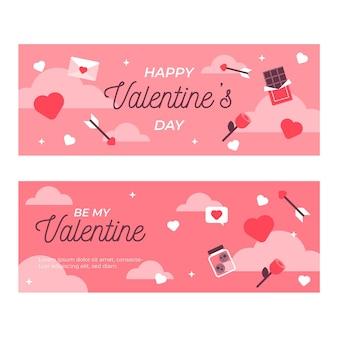 Flache schöne valentinstag banner packung