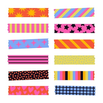 Flache schöne washi tapes pack