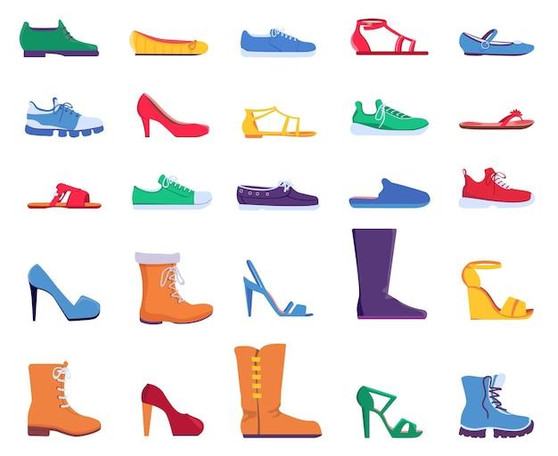 Flache schuhe. modeschuhe für damen und herren. turnschuhe, sandalen, ballettschuhe und schuhe mit stilettoabsatz. trendige cartoon-stiefel entwirft vektorset. schuhe und turnschuhe, damenstiefel mode