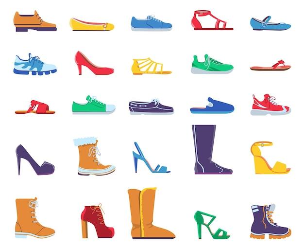 Flache schuhe. modeschuhe für damen und herren. turnschuhe, sandalen, ballettschuhe und schuhe mit stilettoabsatz. trendige stiefel entwirft vektorset. illustration modeschuhe, lässige frau und mann des fußdesigns