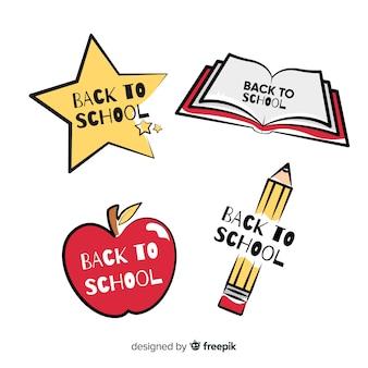 Flache schule logo vorlagensammlung
