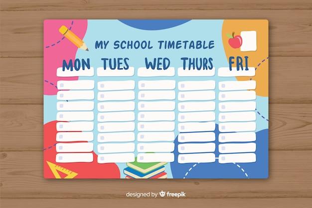 Flache schule stundenplan vorlage