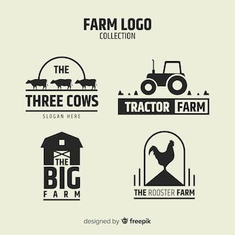 Flache schwarze farm-logo-sammlung