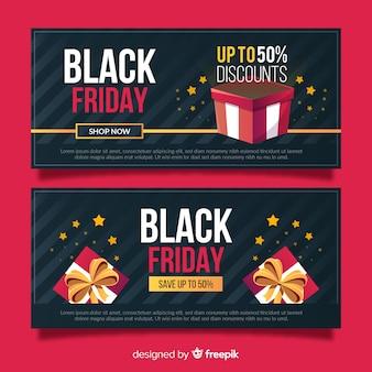 Flache schwarze freitag-banner mit geschenkboxen