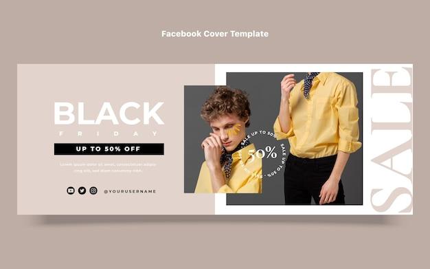 Flache schwarze freitags-social-media-cover-vorlage