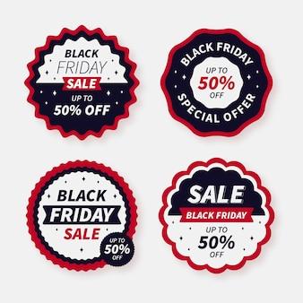 Flache schwarze freitagsverkaufsabzeichen-kollektion